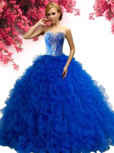Custom Fit Sleeveless Lace Up Floor Length Beading and Ruffles Quinceanera Dresses