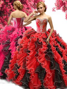 Fabulous Sleeveless Lace Up Floor Length Beading and Ruffles Ball Gown Prom Dress