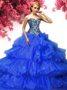 Beading and Ruffled Layers Vestidos de Quinceanera Royal Blue Lace Up Sleeveless Floor Length
