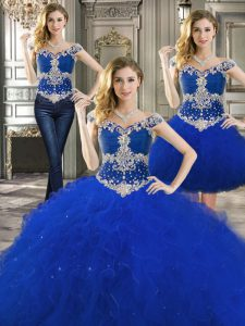 Three Piece Floor Length Royal Blue Sweet 16 Quinceanera Dress Off The Shoulder Sleeveless Lace Up