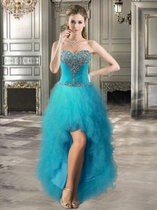 Enchanting Tulle Sweetheart Sleeveless Lace Up Beading and Ruffles Cocktail Dresses in Teal