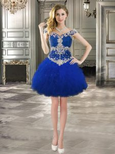 Trendy Off the Shoulder Royal Blue Ball Gowns Beading and Ruffles Homecoming Dress Lace Up Tulle Cap Sleeves Mini Length