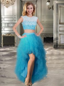 Cheap Scoop Cap Sleeves High Low Lace Up Club Wear Teal for Prom and Party with Beading and Ruffles
