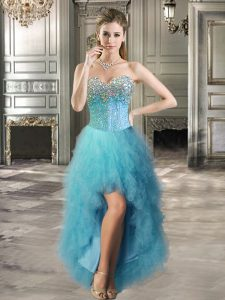 Suitable High Low Lace Up Cocktail Dress Teal for Prom and Party with Beading and Ruffles
