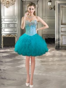 Extravagant Tulle Sweetheart Sleeveless Lace Up Beading and Ruffles Club Wear in Teal