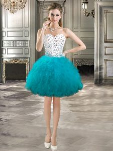 Teal Sleeveless Tulle Lace Up Cocktail Dress for Prom and Party