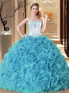 Aqua Blue Ball Gowns Strapless Sleeveless Fabric With Rolling Flowers Floor Length Lace Up Embroidery and Ruffles Quinceanera Gowns