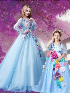 Comfortable With Train A-line Long Sleeves Baby Blue Quinceanera Gowns Sweep Train Lace Up